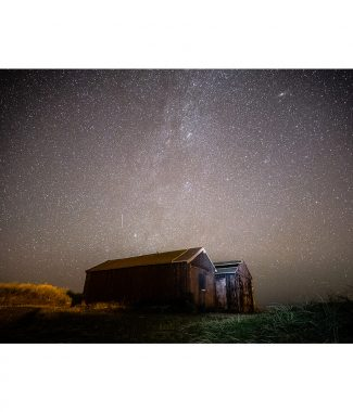 Winterton Beach Huts Night Sky Norfolk Coast 16x12 Print