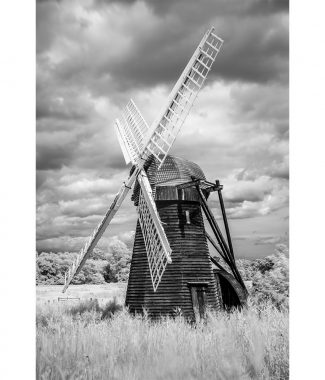 Herringfleet Windmill Infrared Portrait Greetings Card
