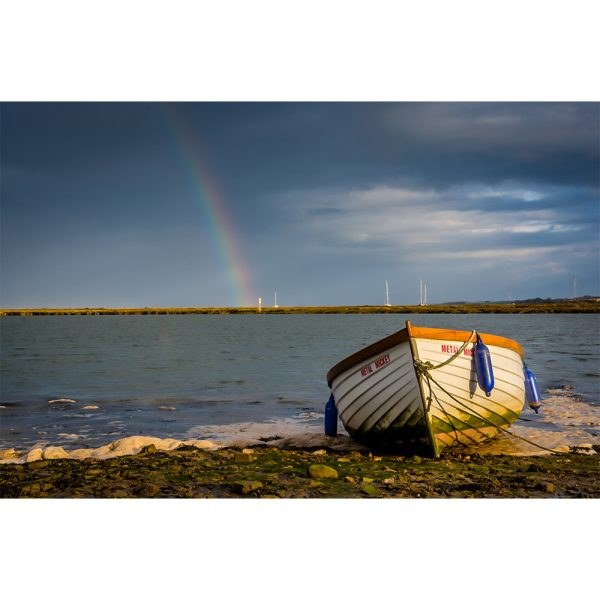 Wells Next The Sea Rowing Boat & Rainbow Poster