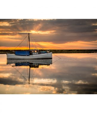 Burnham Overy Staithe Boat Norfolk Coast Sunset Greetings Card