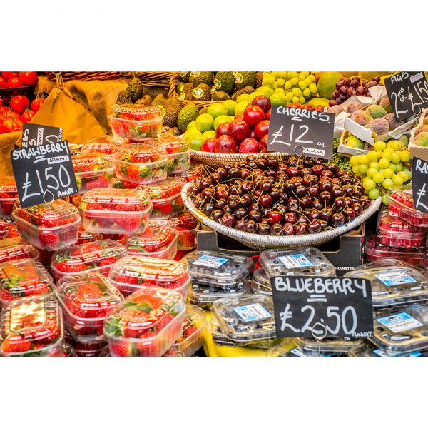Borough Market London Mixed Fruit Market Stall Display Acrylic Prism