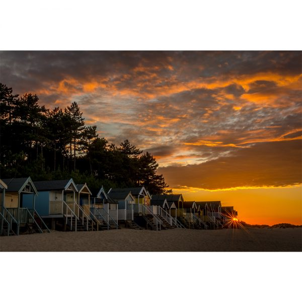 Sunset Over Wells Beach Huts 16x12 Print