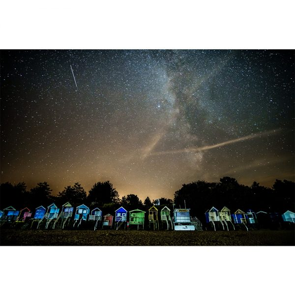 Wells Next The Sea Beach Huts Night Sky Milky Way Greetings Card