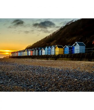 Cromer Sunrise Beach Huts Greetings Card