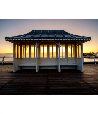 Cromer Pier Shelter Sunrise Greetings Card