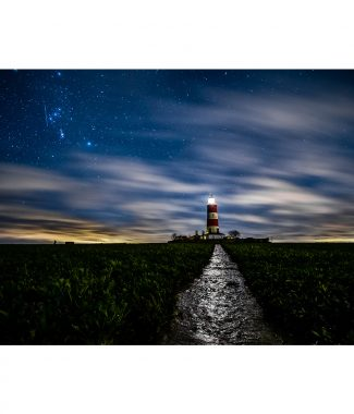 Happisburgh Lighthouse At Night Canvas 38mm Frame