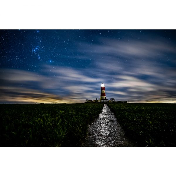 Happisburgh Lighthouse At Night Greetings Card