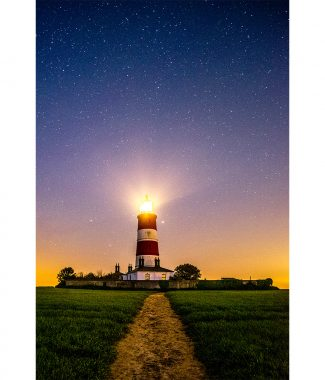 Happisburgh Lighthouse Misty Night Sky Greetings Card