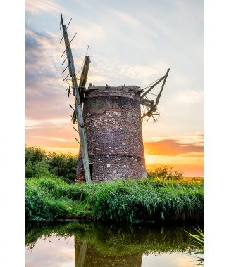 Brograve Mill Norfolk Broads Sunset Greetings Card