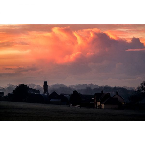 Lower Stow Bedon Winter Sunrise  Greetings Card